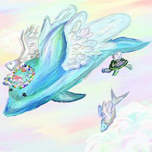 Едачева Арина, 12 лет.   Дельфин, плывущий в облаках